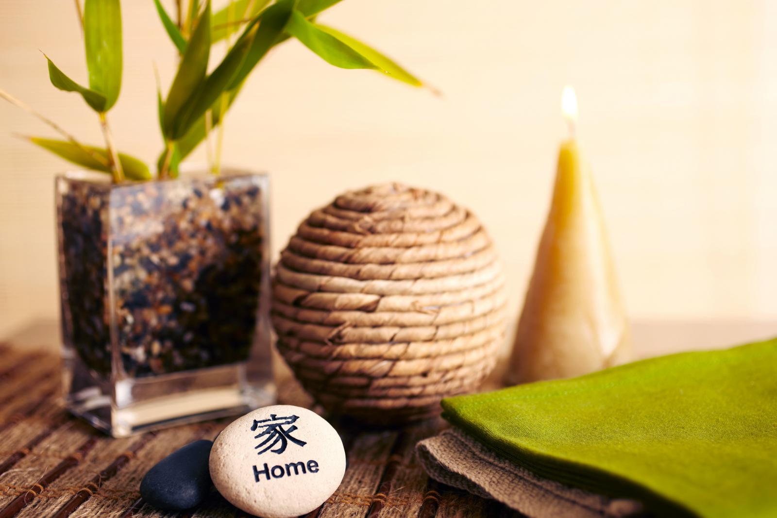 Home decor still life of bamboo in vase