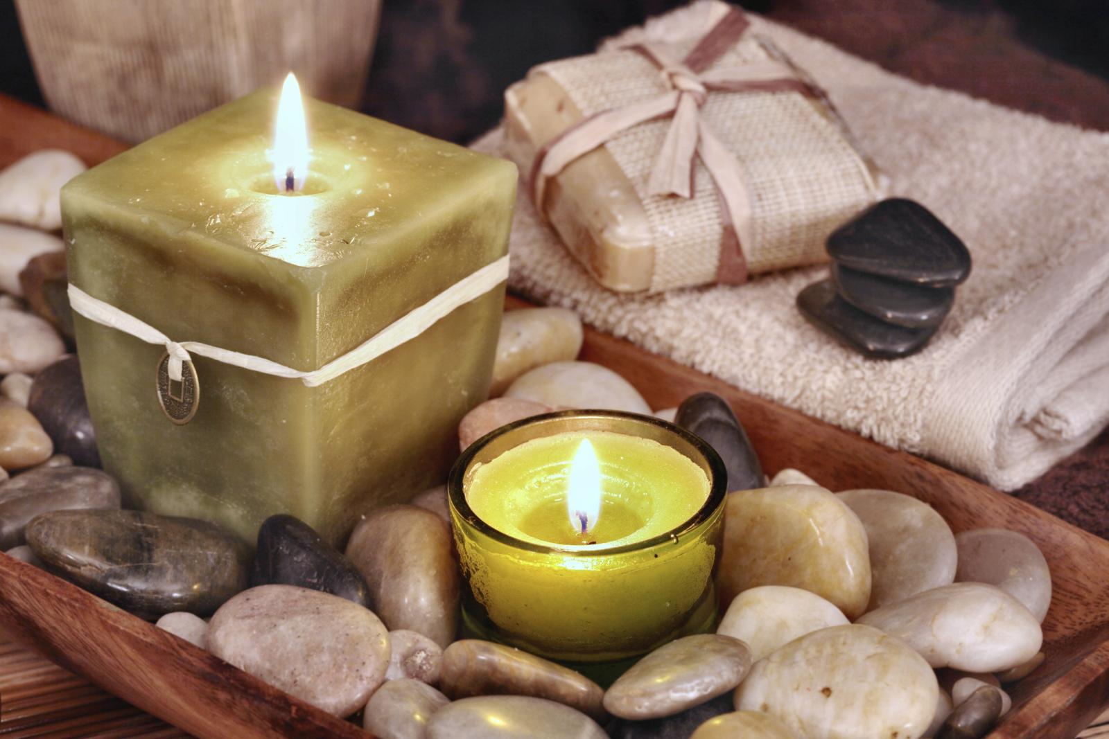 Feng Shui Tranquility with stones, candles, soap in neutral tones