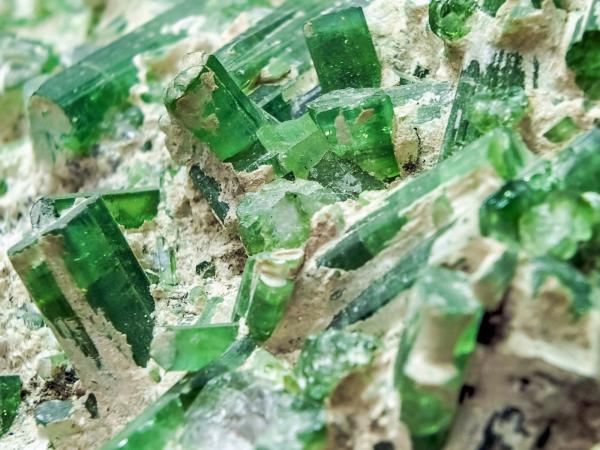 green tourmaline in matrix