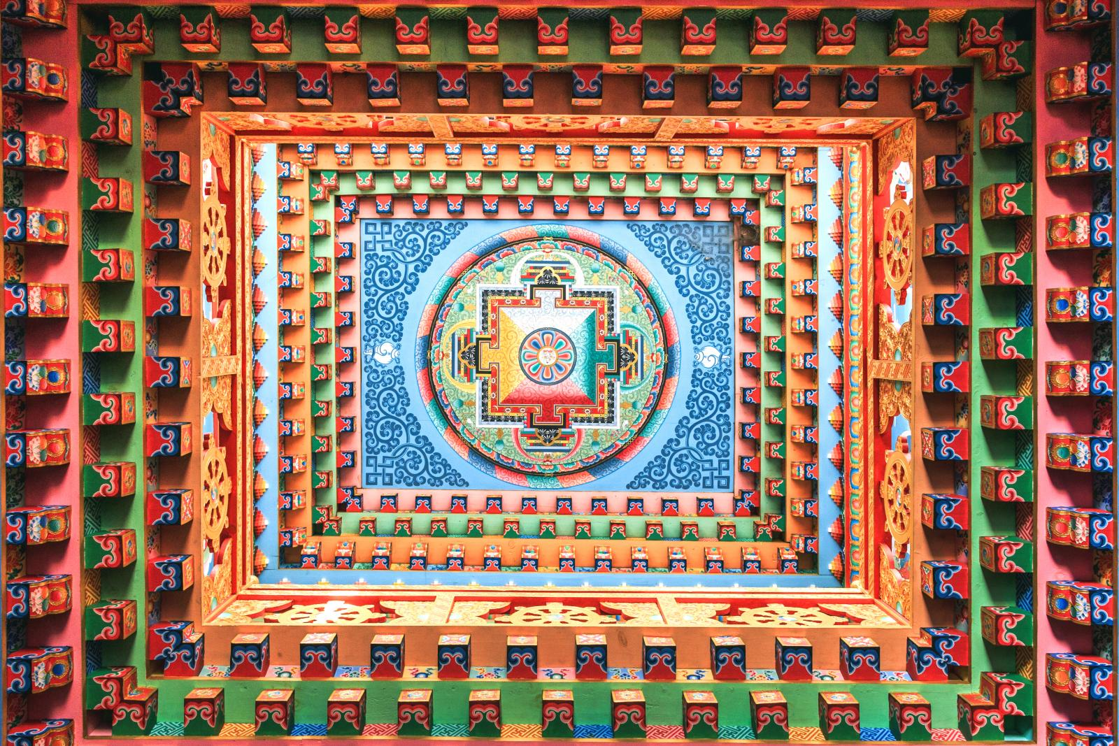 Highly decorated ceiling with mandala on the center