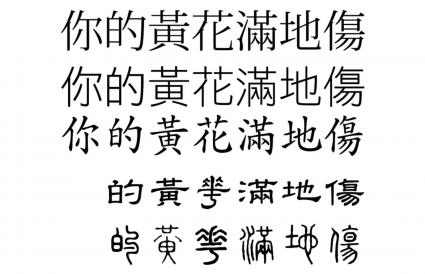 Comparison of different Chinese typeface styles