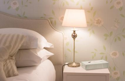 Bedside table with light