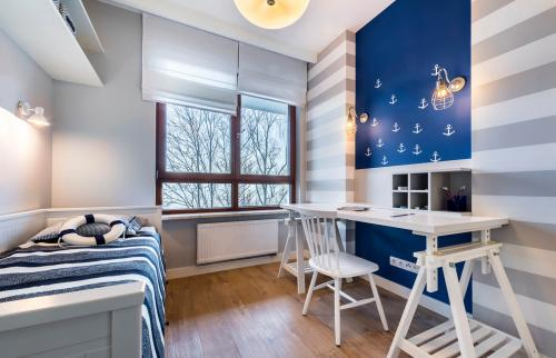 room in maritime style with blue wall