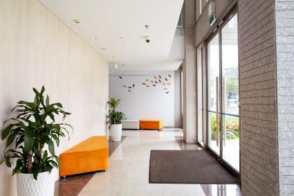 Empty entrance of condominium building