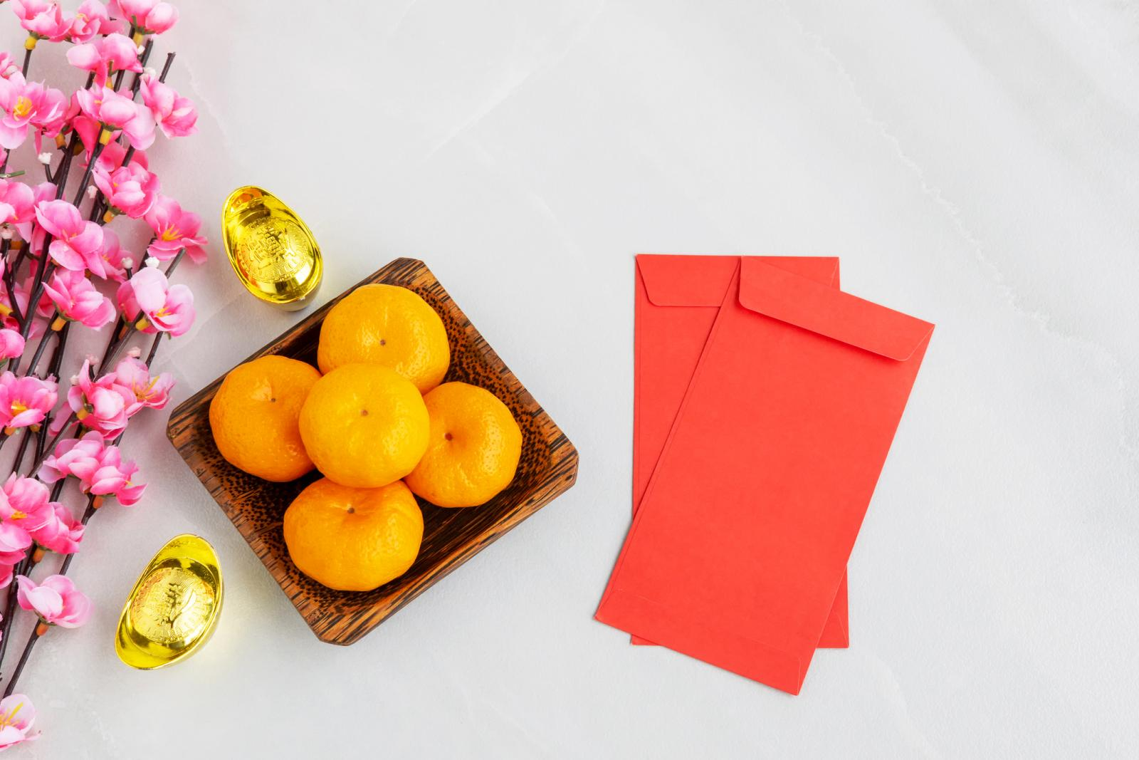 Mandarin orange, Golden Ingots, Cherry Blossom, Red Envelope