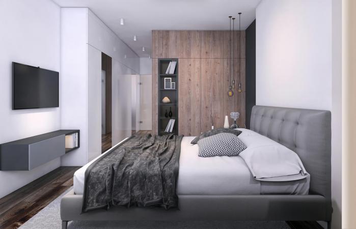 Modern bedroom interior with TV screen