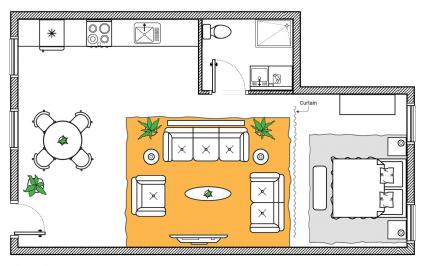 feng shui studio apartment with dining area