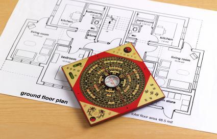 Feng shui compass and blueprint