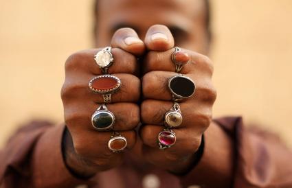 mix of gemstone rings