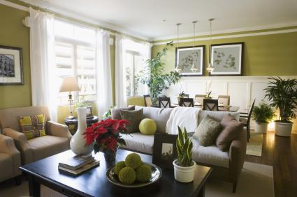 feng shui green living room and dining room combination