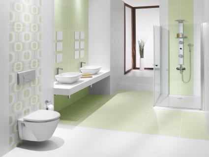 Feng shui green and white bathroom