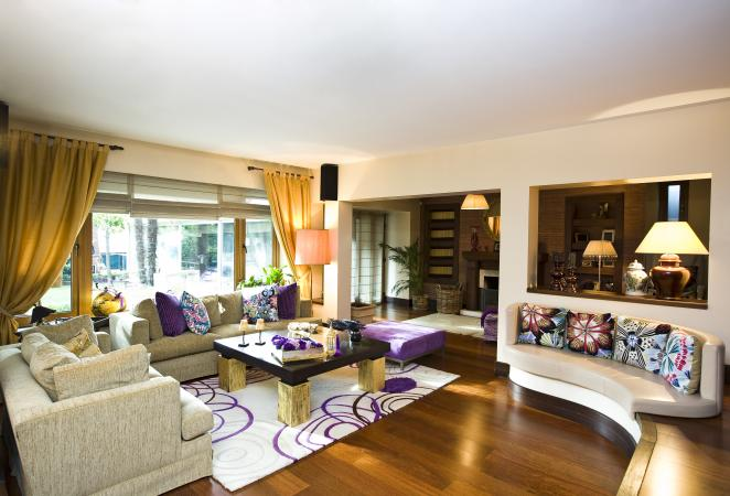 Living room with purple accents