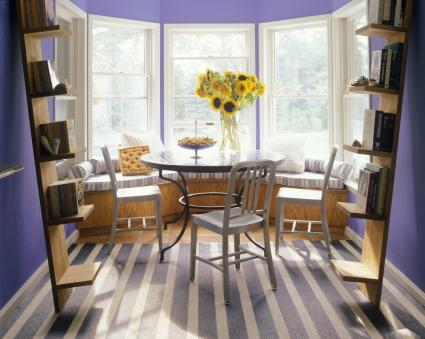purple and gray color combination dining room