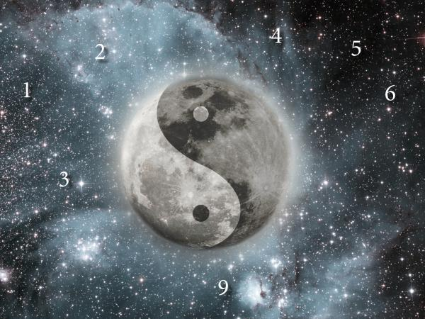 Moon, numbers, the stars and sign of the yin and yang