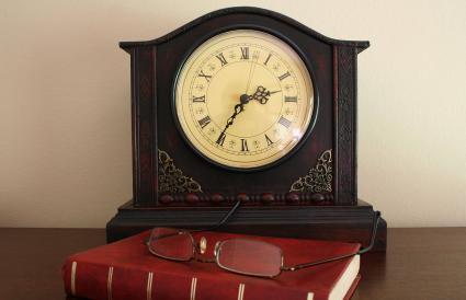 mantel clock at home office