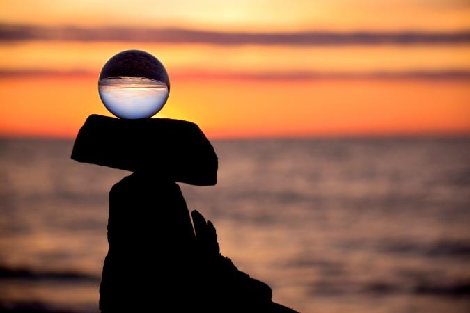 Crystal ball in balance