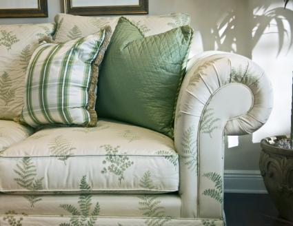 Living room couch with pillows