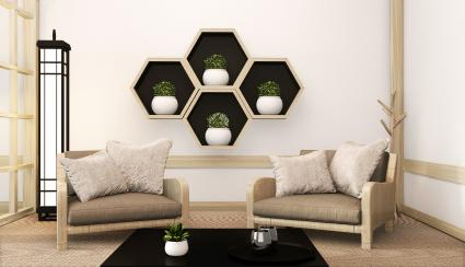 Hexagon shelves wooden design on wall and arm chair Japanese style