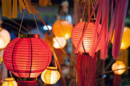 Paper lanterns at a wedding