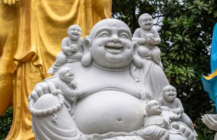 Laughing Buddha With Children Statue