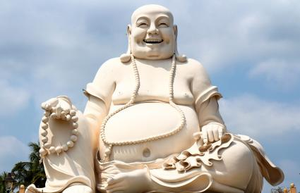 Laughing Buddha With Beads or Wealth Ball