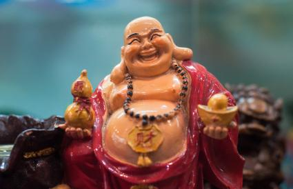 Laughing Buddha Holding Bowl Statue