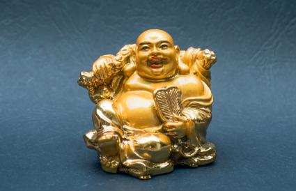 Laughing Buddha With Fan Statue