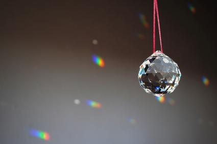Close-Up Of Crystal Ball Hanging Against Wall