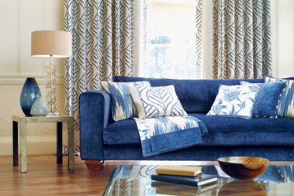Interior of formal Sofa In Window with cushions