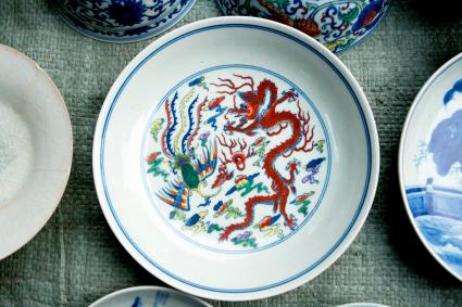 Painted porcelain phoenix and dragon