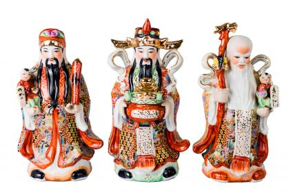 Chinese God of Fortune, Prosperity and Longevity figurine