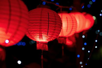 Chinese New Year Lanterns illuminated at night