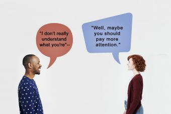Man and woman with speech bubbles
