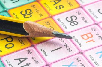 Close-Up Of Pencil On Periodic Table