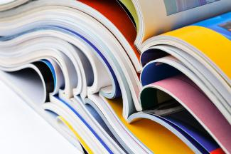 Stack of literary magazines