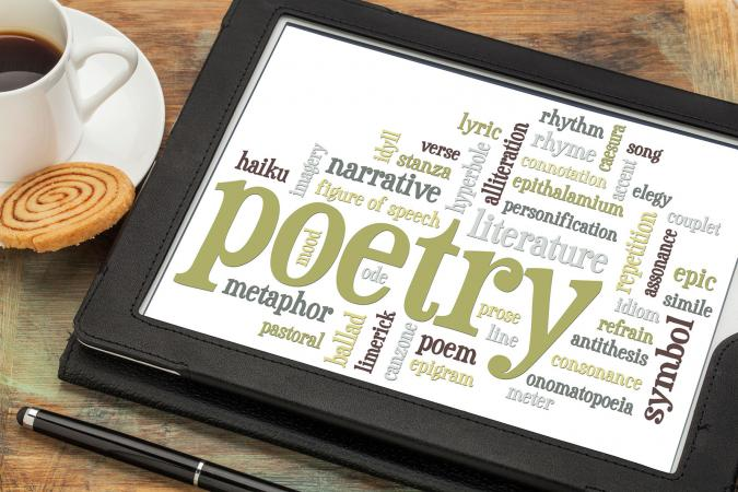 Poetry word cloud on tablet screen