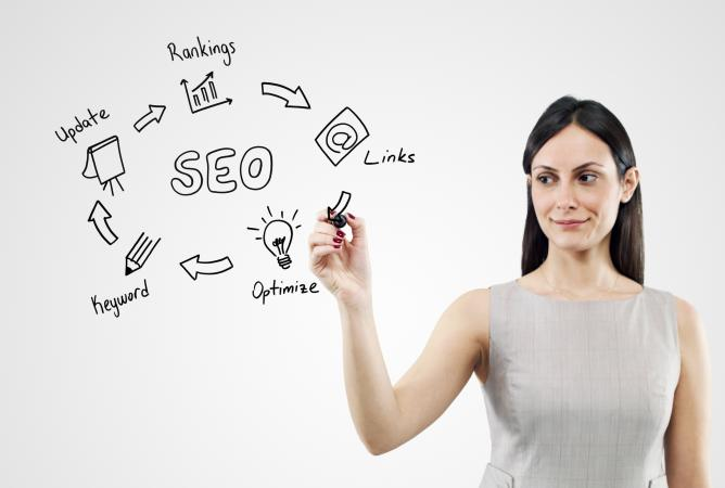 woman drawing SEO concepts