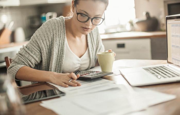 Woman going through her financials