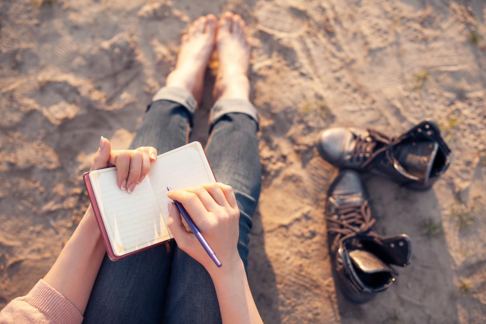 Writing poetry on the beach