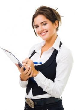 Female writer taking notes