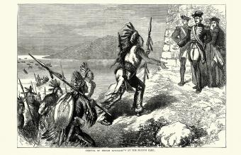Arrival of Native American warriors at the French Camp