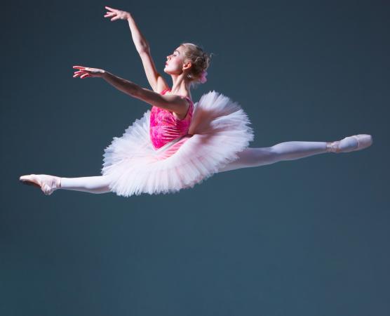 ballerina in mid-jump