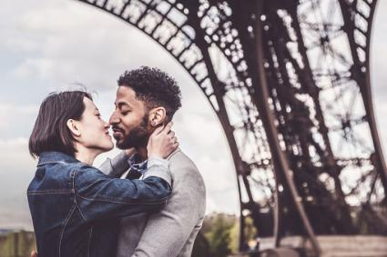 Romantic couple in Paris, France