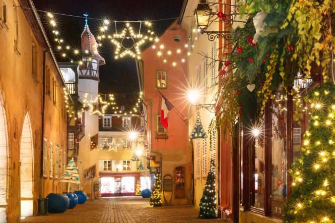 Christmas street in Colmar, Alsace, France