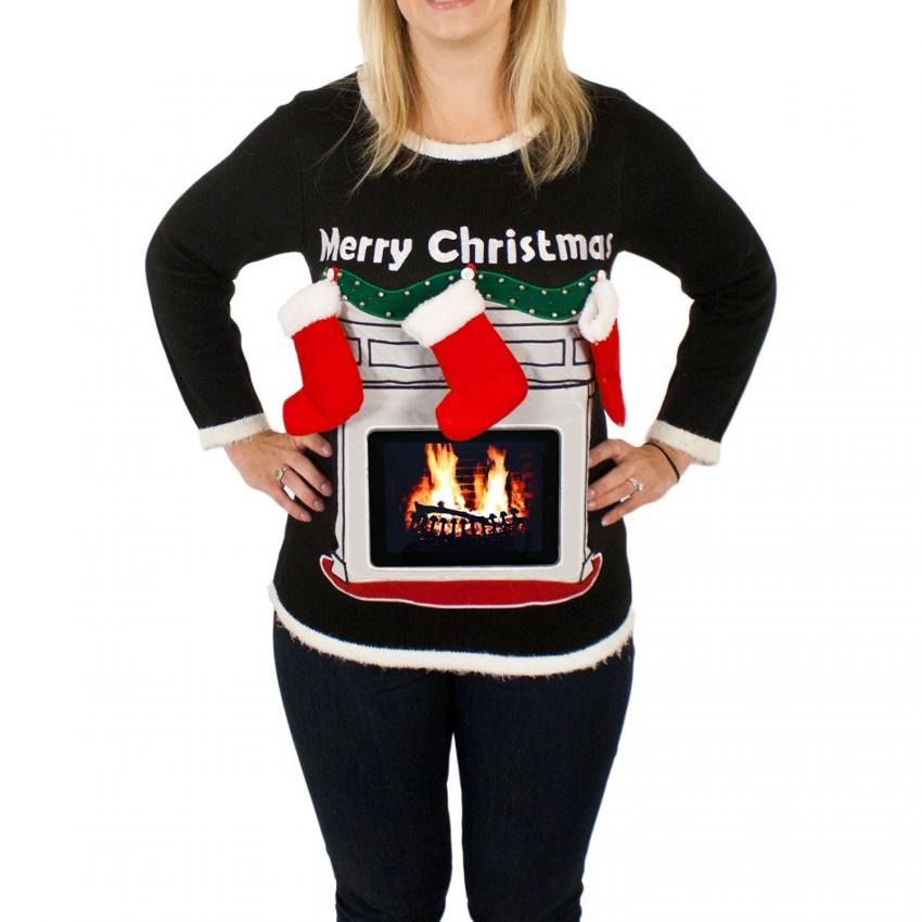 two words chest garland - Maternity Ugly Christmas Sweater