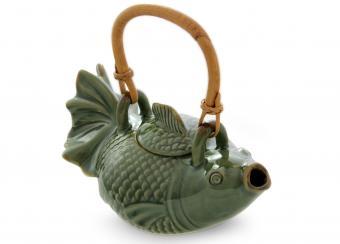 Green Koi Ceramic Teapot