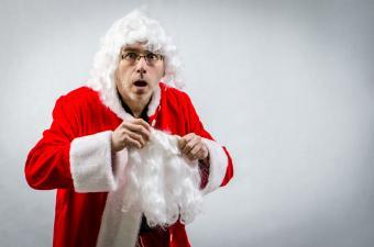 Santa Claus getting dressed