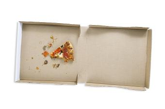 Nearly empty pizza box