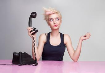 Forgetful woman with phone
