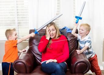 Mom overwhelmed by kids